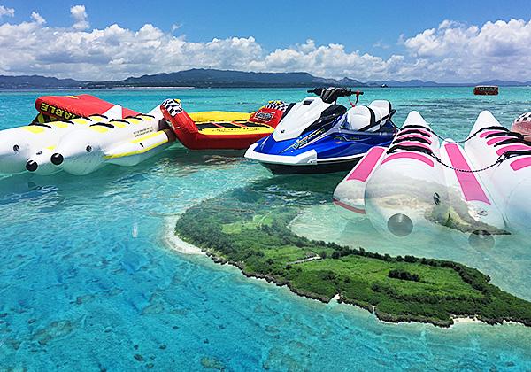 沖縄水納島マリンスポーツ ミシュラン1つ星の楽園♪【水納島ボートシュノーケリング&3種類のマリンスポーツツアー】